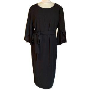 PLUS Size 1X Black Cocktail Tea Length Midi Dress